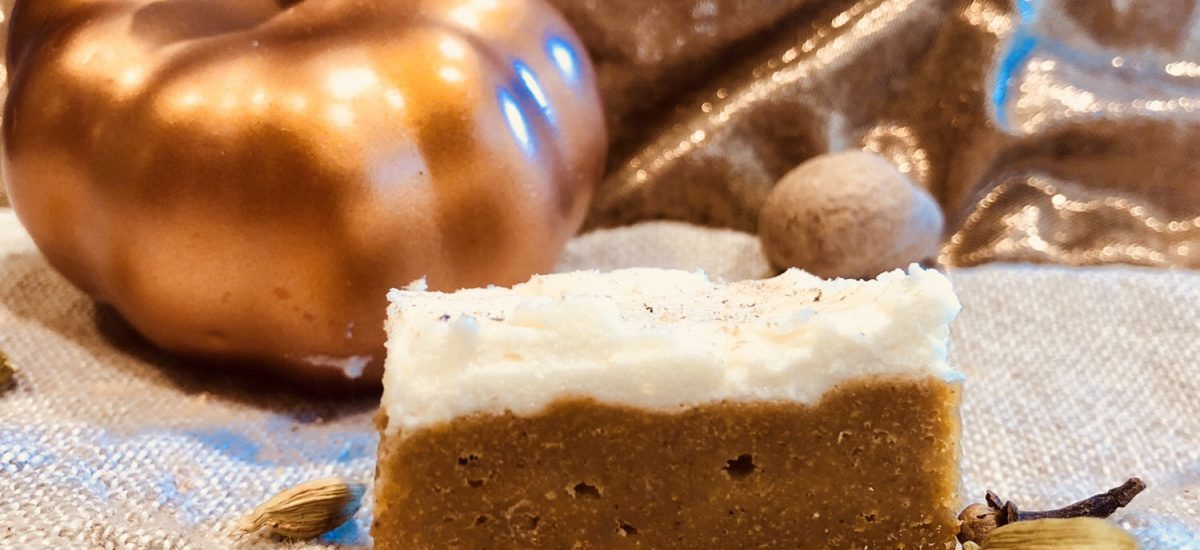 browned butter pumpkin bar with cream cheese