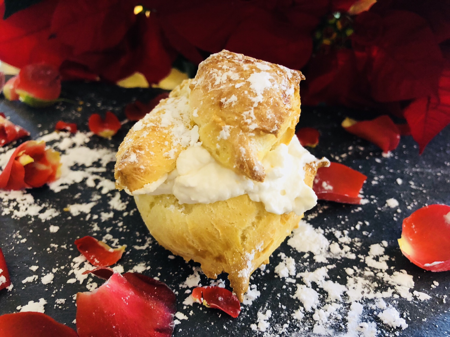 Cardamom Cream Puffs with Rose Water Whipped Cream