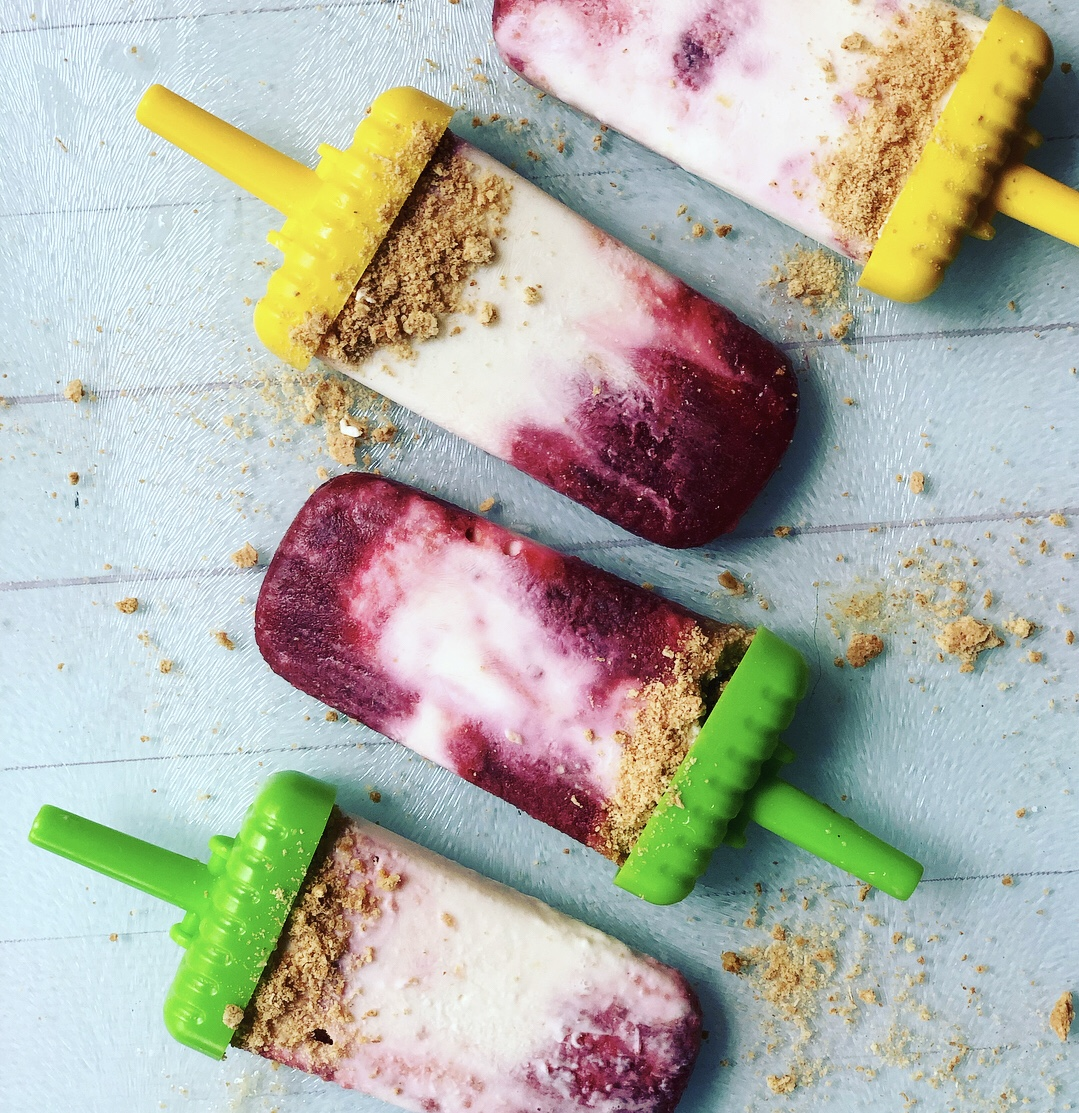 Light Cherry Cheesecake Popsicles