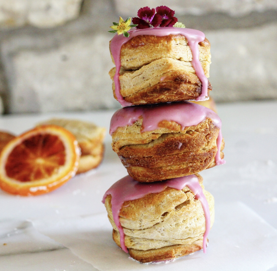 Brioche Biscuits With Blood Orange Glaze